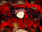 1girl brown_hair cape commentary_request fate/grand_order fate_(series) floating_hair hat hiiragi_fuyuki long_hair long_sleeves looking_at_viewer oda_nobunaga_(fate) parted_lips peaked_cap red_cape red_eyes red_hat smile solo upper_body