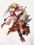 1girl :d a-er_(akkij0358) aestus_estus ahoge blonde_hair boots braid braided_bun breasts commentary_request creatures_(company) crossover dress entei eyebrows_visible_through_hair fate/grand_order fate_(series) fingerless_gloves game_freak gauntlets gen_2_pokemon gloves green_eyes grey_background hair_bun hair_ribbon highres juliet_sleeves large_breasts leotard long_sleeves looking_at_viewer nero_claudius_(fate) nero_claudius_(fate)_(all) nintendo open_mouth pokemon pokemon_(creature) puffy_sleeves red_dress red_gloves red_ribbon ribbon see-through single_gauntlet smile solo white_leotard