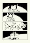 1girl 4koma bleeding blood boxcutter closed_eyes comic cutting greyscale highres hood hoodie injury inkwell knife monochrome no_nose original pas_(paxiti) ponytail short_hair smile wrist_cutting