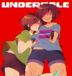 1girl :p aiming_at_viewer bandage bandaged_leg bandages blue_shirt blue_shorts blush brown_hair brown_shorts chara_(undertale) chariko chromatic_aberration commentary copyright_name crazy_eyes denim denim_shorts english_commentary eyebrows_visible_through_hair frisk_(undertale) green_shirt gun hair_over_one_eye highres holding holding_gun holding_weapon nose_blush red_background red_eyes shiny shiny_hair shirt short_hair short_sleeves shorts simple_background solo tongue tongue_out undertale weapon