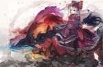 1girl bangs black_legwear breasts closed_mouth commentary dress explosion eyebrows_visible_through_hair fang fang_out frilled_dress frills highres holding long_hair long_sleeves looking_at_viewer mary_janes mitu_yang neck_ribbon outstretched_arm overlord_(maruyama) ponytail purple_dress red_eyes red_footwear red_ribbon ribbon shalltear_bloodfallen shoes silver_hair small_breasts solo standing standing_on_one_leg symbol_commentary thigh-highs very_long_hair