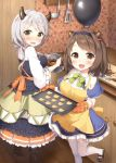 2girls :d baking bangs black_skirt blue_capelet blue_legwear blue_skirt blush boots bow bowl breasts brown_eyes brown_footwear brown_hair camieux capelet commentary_request cookie counter draph eyebrows_visible_through_hair food frying_pan granblue_fantasy hair_bobbles hair_ornament heart holding holding_bowl horns indoors kitchen_knife ladle large_breasts long_hair long_sleeves looking_at_viewer looking_to_the_side masuishi_kinoto mixing_bowl multiple_girls nose_blush open_mouth oven_mitts pantyhose plaid shirt shoes silver_hair skirt smile spatula standing standing_on_one_leg thigh-highs unmoving_pattern white_legwear white_shirt wide_sleeves wooden_floor yaia_(granblue_fantasy) yellow_bow