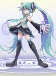 1girl aqua_eyes aqua_hair bangs bare_shoulders black_legwear closed_mouth commentary_request detached_sleeves eyebrows_visible_through_hair flat_chest full_body hair_between_eyes hatsune_miku headphones headset long_hair miniskirt necktie simple_background skirt solo standing thigh-highs twintails very_long_hair vocaloid white_background yuusuke_(5yusuke3)
