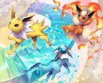 :o baton beamed_eighth_notes closed_eyes creatures_(company) electricity fire flareon game_freak gen_1_pokemon jolteon musical_note nintendo no_humans osafune_ai piano_keys pokemon pokemon_(game) quarter_note vaporeon water