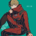 1boy adjusting_clothes arm_support bangs blonde_hair coat commentary_request danganronpa_(series) danganronpa_3_(anime) dated earrings from_side green_background hand_up invisible_chair izayoi_sounosuke jewelry kiri_(2htkz) knee_up long_sleeves looking_at_viewer male_focus red_coat red_eyes short_hair simple_background sitting solo