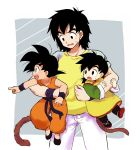3boys :d :o age_difference black_eyes black_footwear black_hair brothers carrying d: denim dougi dragon_ball dragon_ball_(classic) dragonball_z father_and_son full_body grey_background happy highres index_finger_raised jeans looking_away male_focus multiple_boys nervous nishi1225 open_mouth pants pointing profile shaded_face shirt short_hair siblings simple_background smile son_gohan son_gokuu son_goten spiky_hair standing sweatdrop tail time_paradox two-tone_background upper_body wavy_mouth white_background white_pants wristband yellow_shirt
