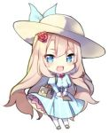 1girl :d ameshizuku_natsuki bag bangs blonde_hair blue_dress blue_eyes blush breasts chibi dress eyebrows_visible_through_hair fate/grand_order fate_(series) flower full_body hair_between_eyes hair_flower hair_ornament hat juliet_sleeves long_hair long_sleeves lowres marie_antoinette_(fate/grand_order) medium_breasts open_mouth pantyhose pleated_dress puffy_sleeves red_flower red_rose rose shoulder_bag simple_background smile solo standing striped sun_hat vertical-striped_dress vertical_stripes very_long_hair white_background white_hat white_legwear