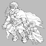 1boy 1girl cape closed_eyes dress fire_emblem fire_emblem_heroes grey_background greyscale hand_holding height_difference helbindi_(fire_emblem_heroes) highres jin_(phoenixpear) monochrome nintendo open_mouth short_dress short_hair simple_background standing tiara ylgr_(fire_emblem_heroes)