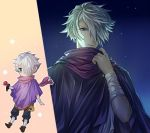 1boy chibi gloves green_eyes hair_over_one_eye jewelry looking_at_viewer lowres male_focus octopath_traveler scarf short_hair simple_background smile solo therion_(octopath_traveler) white_hair yuzuponza