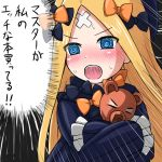 1girl :o @_@ abigail_williams_(fate/grand_order) bangs black_bow black_dress black_hat blonde_hair blue_eyes blush bow commentary_request crossed_bandaids dress emphasis_lines eyebrows_visible_through_hair fate/grand_order fate_(series) hair_bow hat hiyoko_kamen long_hair long_sleeves nose_blush object_hug open_mouth orange_bow parted_bangs sleeves_past_fingers sleeves_past_wrists solo stuffed_animal stuffed_toy sweat teddy_bear translation_request upper_teeth v-shaped_eyebrows very_long_hair
