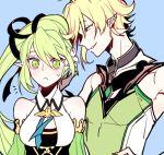 1boy 1girl :< bare_shoulders chuki_(lydia) detached_sleeves elf elsword green_eyes green_hair highres pointy_ears rena_(elsword) side_ponytail sweatdrop ventus_(elsword) wind_sneaker_(elsword)