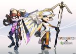 +_+ 2girls aori_(splatoon) armor artist_name black_hair blue_eyes blue_hair bodysuit carrying_over_shoulder commentary_request copyright_name cosplay_request coula_cat cousins english gradient_hair greaves grey_hair grin gun headgear highres holding holding_weapon hotaru_(splatoon) long_hair looking_at_viewer metal_wings mole mole_under_eye multicolored_hair multiple_girls nintendo open_mouth overwatch pale_skin purple_hair rifle sharp_teeth short_hair smile sniper_rifle splatoon staff standing teeth weapon wings yellow_eyes