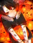 1girl artist_name black_shirt black_skirt blush brown_hair chariko chromatic_aberration closed_mouth commentary english_commentary extra_eyes halloween highres jack-o'-lantern jewelry long_sleeves looking_at_viewer necklace nose_blush original phone pleated_skirt pumpkin shirt short_hair short_sleeves skirt solo stitches