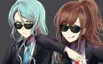 2girls aqua_hair arm_on_shoulder bang_dream! brown_hair earrings formal green_eyes grey_background hikawa_sayo imai_lisa jewelry licking_lips long_hair looking_at_viewer multiple_girls nail_polish necktie ponytail raikou104 scowl simple_background suit sunglasses tongue tongue_out