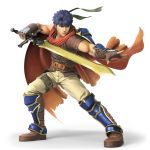 1boy 3d blue_eyes blue_hair cape fire_emblem fire_emblem:_akatsuki_no_megami fire_emblem:_souen_no_kiseki fire_emblem_heroes gloves headband highres ike male_focus muscle nintendo official_art ragnell short_hair simple_background solo super_smash_bros. super_smash_bros_ultimate sword weapon white_background