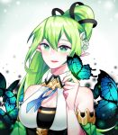 1girl bare_shoulders bug butterfly butterfly_on_finger chuki_(lydia) elf elsword flower glowing green_eyes green_hair hair_flower hair_ornament highres insect long_hair open_mouth pointy_ears rena_(elsword) side_ponytail smile wind_sneaker_(elsword)