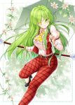1girl ;) aka_tawashi ascot bangs belt black_footwear blurry blush breasts commentary_request english eyebrows_visible_through_hair eyes_visible_through_hair feet_out_of_frame flower green_eyes green_hair hair_between_eyes high-waist_pants high_heels highres holding holding_umbrella juliet_sleeves kazami_yuuka kazami_yuuka_(pc-98) large_breasts leg_up long_hair long_sleeves looking_at_viewer one_eye_closed outline pants plaid plaid_pants plaid_vest pocket puffy_sleeves red_pants red_vest shirt sidelocks sleeve_garters smile solo thighs touhou touhou_(pc-98) umbrella very_long_hair vest white_flower white_outline white_shirt wing_collar yellow_neckwear