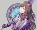 1girl amatari_sukuzakki armor brown_eyes brown_hair fire_emblem fire_emblem:_kakusei gloves hair_ornament long_hair looking_at_viewer nintendo open_mouth simple_background smile solo sumia thigh-highs weapon