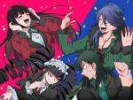 2boys 2girls arisugawa_dice black_hair black_nails blazer blue_hair celestia_ludenberck coin crossover danganronpa danganronpa_1 drill_hair gothic_lolita hime_cut hypnosis_mic itou_kaiji jabami_yumeko jacket kaiji kakegurui lolita_fashion long_hair maid_headdress multicolored multicolored_background multiple_boys multiple_crossover multiple_girls nail_polish red_eyes scar school_uniform shachoo_(poco_poco) simple_background sweat trait_connection twin_drills two-tone_background very_long_hair