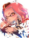 +_+ 1girl bowl chopsticks eating food food_in_mouth food_on_head food_request haori highres hime_(splatoon) holding holding_bowl holding_chopsticks japanese_clothes kashu_(hizake) long_sleeves looking_at_viewer medium_hair mole mole_under_mouth nintendo object_on_head pink_eyes pink_hair short_eyebrows sideways_glance signature simple_background solo splatoon splatoon_2 tentacle_hair thick_eyebrows upper_body white_background wide_sleeves