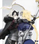 2girls ahoge armor armored_dress bangs black_dress blonde_hair braid breasts cape capelet chains commentary_request dress fate/apocrypha fate/grand_order fate_(series) flag fur-trimmed_cape fur_collar fur_trim gauntlets grey_background headpiece hug jeanne_d'arc_(alter)_(fate) jeanne_d'arc_(fate) jeanne_d'arc_(fate)_(all) long_hair multiple_girls plackart roru_(lol_dessin) short_hair silver_hair single_braid very_long_hair yellow_eyes
