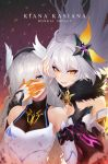 2girls ahoge arm_guards bangs bare_shoulders black_gloves black_hairband braid breasts character_name cleavage cleavage_cutout collarbone commentary_request copyright_name dark_persona dual_persona elbow_gloves empty_eyes eyebrows_visible_through_hair eyelashes faulds fur_collar gloves glowing grey_hair hair_ornament hair_over_one_eye hairband hand_holding head_wings highres honkai_impact kiana_kaslana lips long_hair looking_at_viewer medium_breasts mismatched_gloves motion_blur multiple_girls orange_gloves parted_lips pink_lips purple_background ringed_eyes smile starry-hp straight_hair twin_braids very_long_hair wrist_guards yellow_eyes
