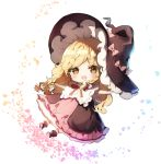 1girl bangs black_blouse black_footwear black_hat blonde_hair blouse blush boots bow braid brown_hair capelet character_doll chibi commentary_request eyebrows_visible_through_hair frilled_capelet frills hair_bow hakurei_reimu hat hat_bow kirisame_marisa long_hair looking_at_viewer open_mouth petals petticoat pink_bow pink_skirt piyokichi red_bow red_eyes red_skirt simple_background single_braid skirt smile solo touhou white_background white_bow white_capelet witch_hat yellow_eyes