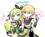 1boy 1girl anemos_(elsword) chibi chuki_(lydia) elf elsword eyebrows_visible_through_hair green_eyes green_hair heart heart_background highres pointy_ears rena_(elsword) side_ponytail smile ventus_(elsword)