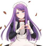 1girl alternate_costume apron bow bowtie enmaided hatsukoi_zombie heart heart_hands highres ibusuki_ririto leaf long_hair long_sleeves looking_at_viewer maid maid_apron maid_headdress minenami_ryou official_art purple_hair red_bow red_neckwear solo spoilers violet_eyes wig yame_ririsu
