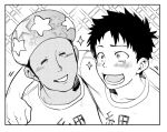 2boys arm_around_shoulder blush closed_eyes common_cell_(hataraku_saibou) dark_skin dark_skinned_male greyscale hataraku_saibou male_focus monochrome multiple_boys saitoukuniko-3 screentones shirt smile sparkle star star_print t-shirt upper_body
