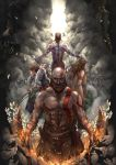 1girl 3boys abs arm_tattoo arrow atreus back back_tattoo bald baldur_(god_of_war) beard belt bodypaint bow_(weapon) brown_hair chains chest closed_mouth dress dual_wielding facial_hair facing_away flower freya_(god_of_war) glowing god_of_war highres holding holding_weapon kratos long_hair long_sleeves looking_afar looking_at_viewer medium_hair multiple_boys muscle nagi_(xx001122) nipples nude shirt shirtless short_hair smoke sparks spoilers tattoo weapon