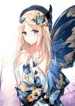 1girl abigail_williams_(fate/grand_order) absurdres bangs bare_shoulders black_hat blonde_hair blue_eyes blue_wings blush butterfly_hair_ornament butterfly_wings closed_mouth commentary_request dress eyebrows_visible_through_hair fallen_heaven fate/grand_order fate_(series) hair_between_eyes hair_ornament hands_up hat highres long_hair long_sleeves off-shoulder_dress off_shoulder parted_bangs simple_background smile solo very_long_hair white_background white_dress wide_sleeves wings