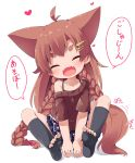 1girl :d ^_^ ahoge animal_ears bare_shoulders black_legwear blush braid brown_hair brown_shirt closed_eyes collarbone commentary_request facing_viewer fangs fox_ears fox_girl fox_tail hair_ornament hairclip head_tilt heart highres kneehighs long_hair makuran momiji_(makuran) no_shoes off-shoulder_shirt open_mouth original pleated_skirt polka_dot_skirt purple_skirt shirt short_eyebrows short_sleeves sitting skirt smile soles solo spread_legs star star_hair_ornament tail thick_eyebrows toeless_legwear translated twin_braids very_long_hair