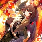 1girl autumn_leaves bag bangs bird black_hair black_ribbon black_skirt black_wings blush boots breasts brown_jacket commentary_request crow eyebrows_visible_through_hair feathered_wings from_above fuupu hair_between_eyes hat highres jacket leaf leaf_background long_sleeves looking_at_viewer medium_breasts miniskirt neck_ribbon open_clothes open_jacket petticoat red_eyes red_footwear ribbon satchel shameimaru_aya shirt short_hair sitting skirt sleeves_past_wrists smile solo sweater_jacket tassel thigh-highs thighs tokin_hat touhou white_shirt wings zettai_ryouiki