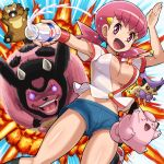 1girl akane_(pokemon) bidoof breasts bursting_breasts clefairy creatures_(company) delcatty explosion eyebrows_visible_through_hair game_freak gen_1_pokemon gen_2_pokemon gen_3_pokemon gen_4_pokemon gym_leader hair_ornament hairclip large_breasts milk miltank navel nintendo open_mouth pink_eyes pink_hair pokemoa pokemon pokemon_(creature) pokemon_(game) pokemon_hgss popped_button shorts twintails