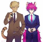 2boys alternate_costume animal_ears blonde_hair business_suit closed_eyes coffee formal glasses gradient_hair lycao_(show_by_rock!!) male_focus multicolored_hair multiple_boys necktie pink_hair purple_hair rom_(show_by_rock!!) sebychu show_by_rock!! suit tail