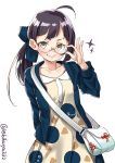 1girl :} ahoge alternate_costume bag bangs bespectacled black_hair blue_jacket blunt_bangs closed_mouth collarbone collared_dress commentary_request cowboy_shot cross-laced_bag dress ebifurya flower_knot fujinami_(kantai_collection) glasses hand_up handbag highres jacket kantai_collection long_hair long_sleeves looking_at_viewer open_clothes open_jacket peter_pan_collar print_dress ribbon round_eyewear shiny shiny_hair shoulder_bag side_ponytail simple_background smile solo sparkle strap twitter_username v-shaped_eyebrows white_background white_bag yellow_dress yellow_eyes