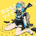 1girl ;( arm_at_side arm_up background_text backpack bag black_gloves black_shirt braid brown_eyes character_request clothes_writing commentary_request copyright_request crossed_bandaids frying_pan full_body gloves gun hair_between_eyes hair_ornament handgun helmet highres long_hair looking_at_viewer no_socks pistol playerunknown's_battlegrounds pouch shell_casing shirt short_shorts short_sleeves shorts side_braid sitting solo star star_hair_ornament star_print straight_hair symbol-shaped_pupils teardrop thigh_pouch translation_request ume_(yume_uta_da) v-shaped_eyebrows very_long_hair virtual_youtuber wariza weapon weapon_on_back weapon_request white_footwear white_shorts yellow_background