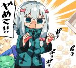 1girl bangs blue_eyes blue_jacket blush bow commentary_request eromanga_sensei eyebrows_visible_through_hair hair_between_eyes hair_bow hands_up izumi_sagiri jacket kanikama long_hair long_sleeves lowres nose_blush open_mouth pink_bow silver_hair solo stuffed_animal stuffed_octopus stuffed_toy sweat teddy_bear track_jacket translated trash_can used_tissue v-shaped_eyebrows wide_sleeves