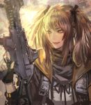 1girl black_jacket black_ribbon brown_hair closed_mouth commentary_request fingerless_gloves girls_frontline gloves gun highres holding holding_gun holding_weapon hood hooded_jacket jacket kaburagi_yasutaka red_lips ribbon rifle scar scar_across_eye scarf smile twintails ump9_(girls_frontline) weapon