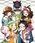 2girls 3boys :< :d ahoge animal antenna_hair bag baseball_cap bel_(pokemon) black_hair black_wristband blonde_hair blue_eyes blue_jacket brown_hair cheren_(pokemon) creatures_(company) game_freak gen_5_pokemon green_eyes handbag hat holding holding_animal jacket long_hair looking_at_viewer multiple_boys multiple_girls munna n_(pokemon) nagiru nintendo open_mouth oshawott pants parted_lips pokemon pokemon_(creature) pokemon_(game) pokemon_bw ponytail purrloin short_hair sidelocks smile snivy tepig touko_(pokemon) touya_(pokemon) wristband zipper zorua