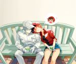 0_0 1boy 1girl ahoge bench blush cabbie_hat closed_eyes couple cup embarrassed flat_cap gloves hair_over_one_eye hat hataraku_saibou head_on_another's_shoulder jacket long_sleeves o_o pants red_blood_cell_(hataraku_saibou) redhead short_hair shorts sitting sleeping thought_bubble uniform wavy_mouth white_blood_cell_(hataraku_saibou) white_hair white_skin
