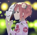 1girl aqua_eyes backlighting blurry blurry_background commentary english_commentary floral_print flower fox_mask from_side hair_flower hair_ornament holding holding_mask japanese_clothes kimono kurosawa_ruby long_sleeves looking_at_viewer looking_to_the_side love_live! love_live!_sunshine!! mask parted_lips print_kimono profile redhead ru_yue_kong short_hair sidelocks sideways_glance solo upper_body white_flower white_kimono