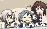 3girls ahoge blue_sailor_collar bodysuit bow bowtie brown_hair closed_eyes commentary_request dated eating elbow_gloves food fur-trimmed_sleeves fur_trim furutaka_(kantai_collection) gloves glowing glowing_eye green_eyes grey_hair hair_between_eyes hair_ornament hairclip halterneck hamu_koutarou heterochromia highres jacket kantai_collection kiyoshimo_(kantai_collection) long_sleeves low_twintails multiple_girls neck_ribbon neckerchief onigiri open_mouth red_neckwear red_ribbon remodel_(kantai_collection) ribbon sailor_collar school_uniform serafuku shimushu_(kantai_collection) shirt short_hair single_elbow_glove tareme twintails upper_body white_shirt