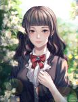 1girl bangs black_hair blue_eyes blunt_bangs blurry blurry_background bow dated day earrings flower hand_up highres jewelry lens_flare long_hair looking_at_viewer original outdoors red_bow smile soyubee twitter_username upper_body