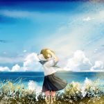 1girl arm_up black_eyes black_hair blurry clouds depth_of_field from_behind grass horizon kazuharu_kina looking_at_viewer looking_back neckerchief original plant school_uniform serafuku short_hair short_sleeves signature sky smile solo uniform wind