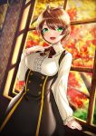 1girl :d against_window ahegao arm_at_side autumn bangs black_skirt blush bound bound_wrists braid breasts brown_hair center_frills commentary_request cowboy_shot day eyebrows_visible_through_hair frilled_shirt_collar frilled_sleeves frills green_eyes hand_on_own_chest hand_up high-waist_skirt idolmaster idolmaster_million_live! indoors jewelry kyon_(fuuran) long_sleeves looking_at_viewer medium_breasts neck_ribbon necklace open_mouth pendant red_neckwear red_ribbon ribbon sakuramori_kaori shirt short_hair skirt smile solo suspender_skirt suspenders swept_bangs treble_clef white_shirt window