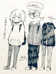 1girl backpack bag box cardboard_box directional_arrow eguchi_saan eyebrows_visible_through_hair greyscale hands_in_pockets hood hooded_jacket jacket looking_at_viewer monochrome original pants paper_(medium) pen_(medium) shoes translation_request variations zipper