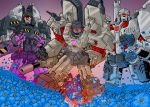 1boy 80s arm_cannon cannon character_request commentary decepticon english_commentary glowing glowing_eyes mecha megatron megatron_(idw) natephoenix no_humans oldschool open_mouth red_eyes robot science_fiction the_transformers_(idw) transformers weapon