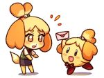1girl animal_ears bell blonde_hair blush blush_stickers card dog dog_ears dog_girl dog_tail doubutsu_no_mori furry hair_ornament hoshi_no_kirby kataro kirby kirby_(series) nintendo open_mouth shizue_(doubutsu_no_mori) short_hair skirt smile super_smash_bros. super_smash_bros_ultimate tail tobidase:_doubutsu_no_mori topknot